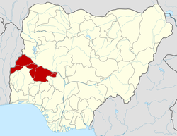 Location of Kwara State in Nigeria