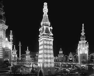 "Luna Park, Coney Island (1903) - Interior of Luna Park at night, 1905 with its centerpiece, the ""Electric Tower"" in the foreground."