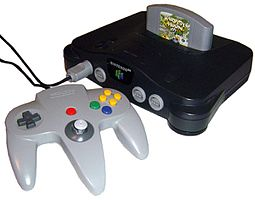A Nintendo 64 and a control pad.
