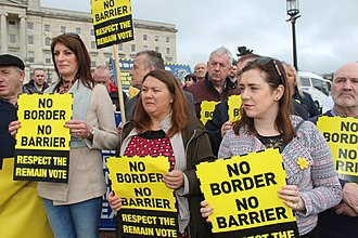 Republic of Ireland–United Kingdom border - A Sinn Féin protest against a hard border. Post-Brexit border controls are a controversial issue.