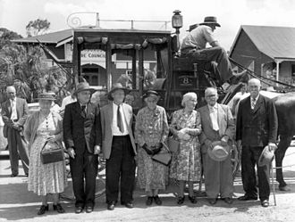 Landsborough, Queensland - Image: North Coast pioneers standing near a Cobb & Co Coach