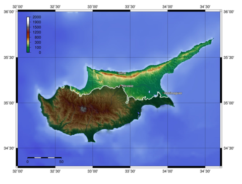 Topographic map of Northern Cyprus with the Kyrenia Mountains to the North and the Karpaz Peninsula to the east