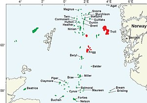 Frigg gas field - North Sea Oil and Gas Fields