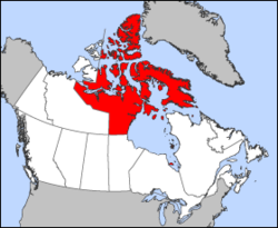 Map of Canada with Nunavut highlighted
