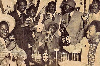 Bralima Brewery - Members of OK-Jazz drinking Primus beer in Brussels, 1961