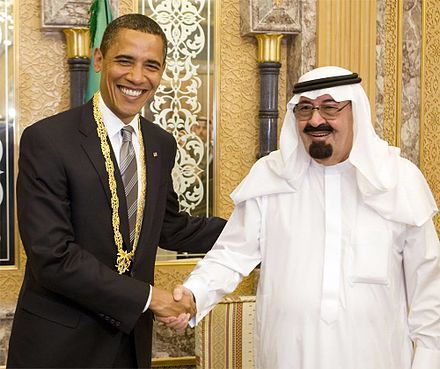U.S. President Barack Obama meets King Abdullah of Saudi Arabia, July 2014 Obama meets King Abdullah July 2014.jpg