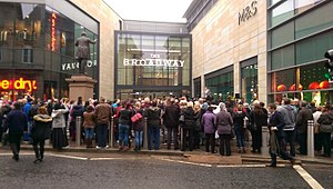 The Broadway, Bradford - Crowds waiting to watch Alexandra Burke open the centre on 5 November 2015