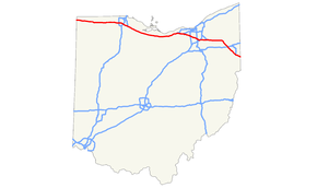 The Ohio Turnpike runs along the northern section of the state of Ohio