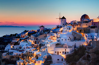 View from Santorini in Greece. Tourism is an important part of the Greek economy. Oia, Santorini HDR sunset.jpg
