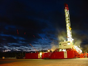 Western Canadian Sedimentary Basin - Drilling rig in the gas bearing Greater Sierra field