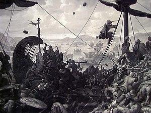 Battle of Hafrsfjord - Image: Ole Peter Hansen Balling Harald Hårfagre i slaget ved Hafrsfjord