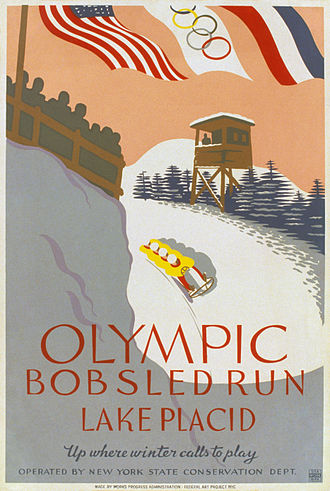 1932 Winter Olympics - A WPA poster, advertising the bobsled run