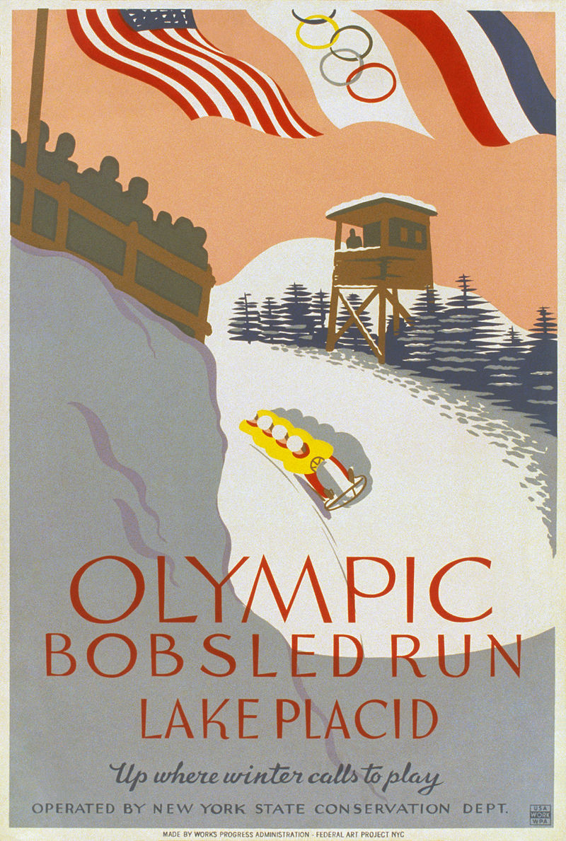 """A stylized image shows a four-man bobled running the bobsled track, with an observation tower and spectator viewing area on either side. At the top of the image are the flags of the United States, the Olympic movement, and France, and the bottom of the poster reads, """"Olympic Bobsled Run Lake Placid, Up where winter calls to play, Operated by New York State Conservation Dept."""""""