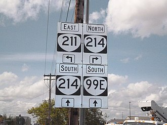 Oregon Route 99E - Oregon 99E, 211 and 214 Direction Sign
