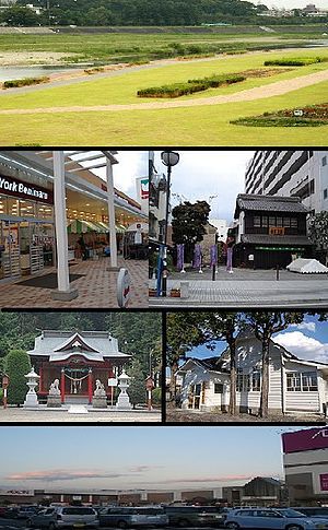 Oyama, Tochigi - upper:Omoigawa River, upper middle: Oyama Yuen, Oyamamachi Station  lower middle: Shirahige Jinja, Oyama City Archives lower:Aeon Oyama shopping center
