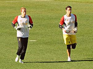 Brad Jones (footballer) - Brad Jones and Péter Gulácsi training with Liverpool in 2012.