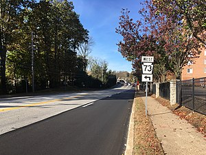 Pennsylvania Route 73 - PA 73 westbound approaching the turn from Township Line Road to Washington Lane in Jenkintown