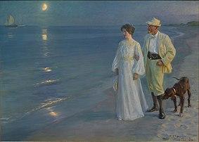 Tarde de verão na praia de Skagen (1899), pelo pintor dinamarquês P.S. Krøyer, um retrato do próprio artista e de sua esposa Marie.  (definição 16403×11698)