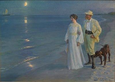 P S Krøyer 1899 - Sommeraften ved Skagens strand. Kunstneren og hans hustru.jpg