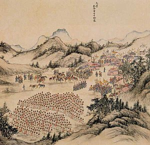 Mongolia under Qing rule - Camp of the Qing Military in Khalkha in 1688.