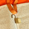 Padlock and badge holder on old book and orange background 01.jpg