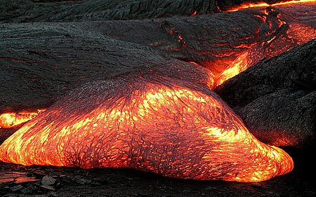 Lava flow on Hawaii. Lava is the extrusive equivalent of magma. Pahoehoe toe.jpg