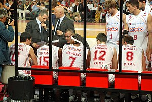 Pallacanestro Virtus Roma - Coach Jasmin Repeša and his players during a timeout during the 2005-06 season.