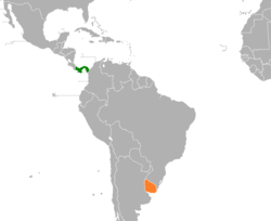 Map indicating locations of Panama and Uruguay