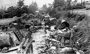 Kurt Meyer - Destroyed German equipment in the Falaise Pocket
