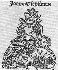 Representación medieval de la papisa juana (como Juan VII).