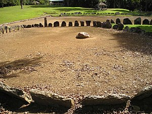 Taíno - Caguana Ceremonial ball court (batey), outlined with stones.