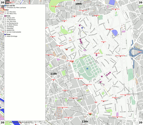 Map of Paris/20th arrondissement