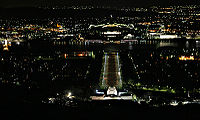 Parliament house and war memorial by night from mt ainslie.jpg