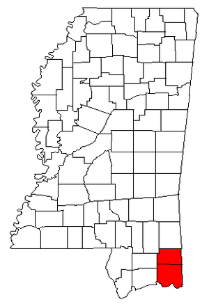 Pascagoula metropolitan area - Map of Mississippi highlighting the Pascagoula metropolitan area.