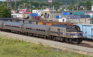South Portland, Maine - A Downeaster passenger train and a Pan Am Railways freight train at Rigby Yard in South Portland, 2005.