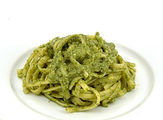 Pesto - Linguine with basil pesto.
