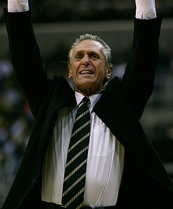 Pat Riley cheering on today's THREE-PEAT