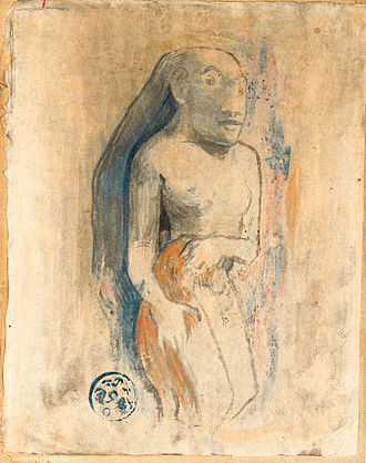 Oviri (Gauguin) - Oviri, 1894, watercolor monotype heightened with gouache on Japan paper laid down on board. Private collection