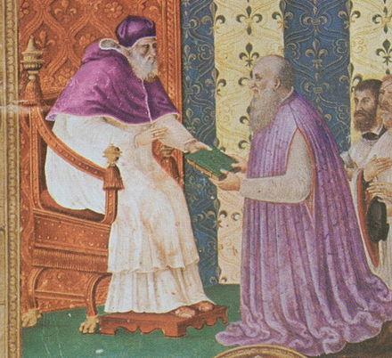 Ludovico Magnasco receiving the new constitution for the choir from Pope Paul III in 1545 Paul III. und Ludovico Magnasco di Santa Fiora.jpg