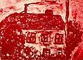 Pedro Meier Artist's books »Gerhard Meier Geburtshaus Niederbipp«, Sepia-Lithographie, Fingermalerei, aus Zyklus Paraphrasen zu Gedichten von Gerhard Meier. Künstlerbuch, Malerbuch, Bangkok 1987. Foto © Pedro Meier Multimedia Artist.jpg
