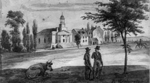 Pennsylvania Avenue National Historic Site - Pennsylvania Avenue and 7th Street in 1839. The First Unitarian Church (situated on the northeast corner of 6th Street and Pennsylvania Avenue) can be seen in the background.