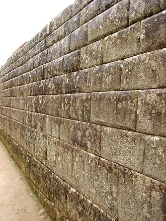 Ashlar - Dry ashlar masonry laid in parallel courses on an Inca wall at Machu Picchu