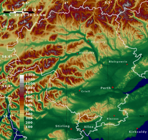 Topographic map of Perth and Kinross Perth adn Kinross topo.png