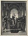 Perugino - Madonna con Bambino in trono tra san Giovanni Battista, san Ludovico di Tolosa, san Francesco d'Assisi, san Pietro, san Paolo, san Giacomo Maggiore, Chiesa di S. Maria delle Grazie.jpg