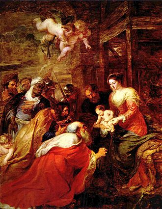 Nine Lessons and Carols - The Adoration of the Magi (1634) by Peter Paul Rubens, which hangs behind the altar in King's College Chapel, Cambridge.