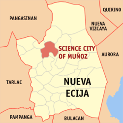 Map of Nueva Ecija showing the location of Science City of Muñoz.
