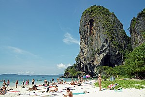 Krabi - Phra Nang Beach covered with tourists.