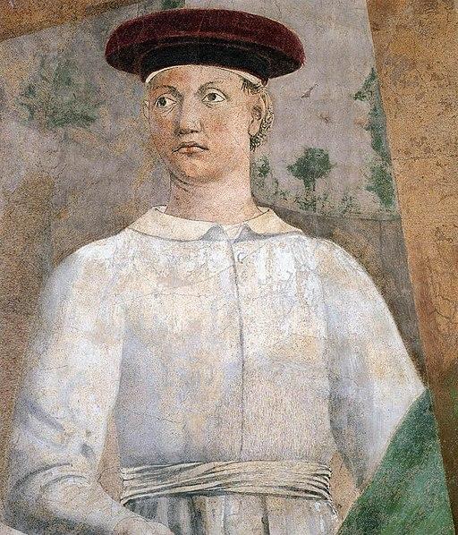 Piero della Francesca, Ritrovamento delle Croci (particolare dell'uomo col copricapo rosso (forde un autoritratto di Piero della Francesca)