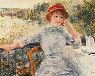 Mushroom hat - Early mushroom hats were of straw. Portrait by Pierre-Auguste Renoir, 1879