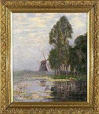 Piet Mondriaan - Mill near tall trees with bright color reflections - 0334871 - Kunstmuseum Den Haag.jpg